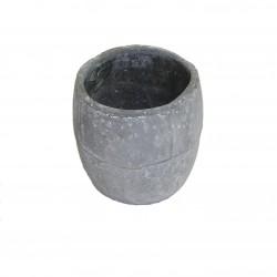 Cache-pot gris en forme de tonneau