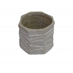 Cache-pot gris en béton octogonale