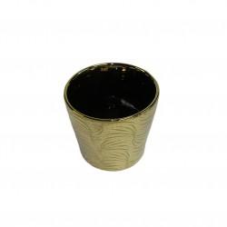Cache-pot conique de couleur or brillant, grand modéle