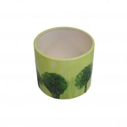 Cache-pot vert avec décor arbres, grand modèle