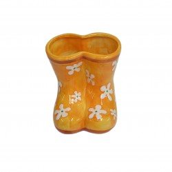 Vase céramique orange forme de botte
