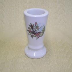 Vase céramique rond blanc avec décor oiseau sur branche