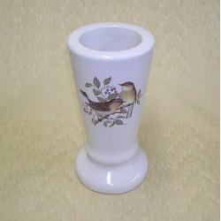 Vase céramique rond blanc avec décor 2 oiseaux sur branche