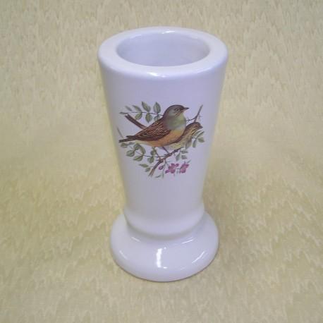 Vase céramique rond blanc avec décor 2 oiseaux sur une branche