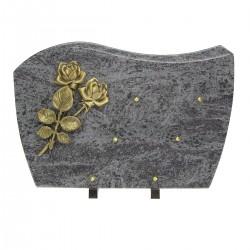 Plaque mortuaire en granit mass blue sur pieds bronze roses