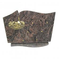Ornement en granit sur socle himalaya avec bronze village