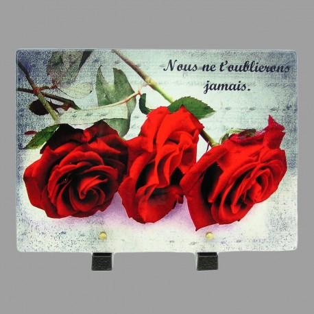 Plaque funéraire en résine 3 roses rouges