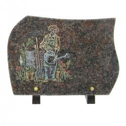 Plaque funéraire en granit sur pieds himalaya avec gravure couleur jardinier