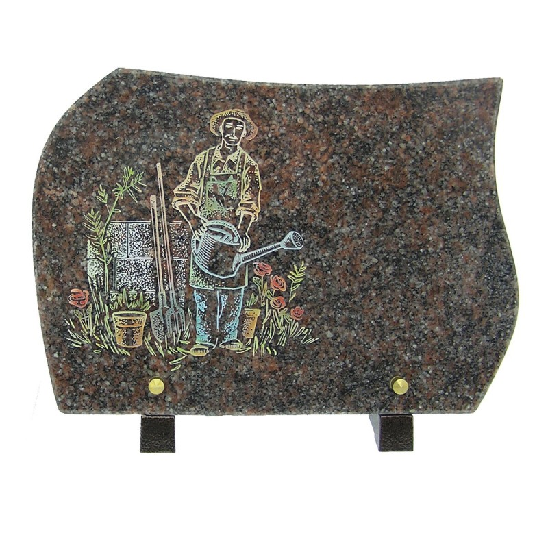 plaque fun raire en granit sur pieds himalaya avec gravure couleur jardinier migennes fleurs. Black Bedroom Furniture Sets. Home Design Ideas