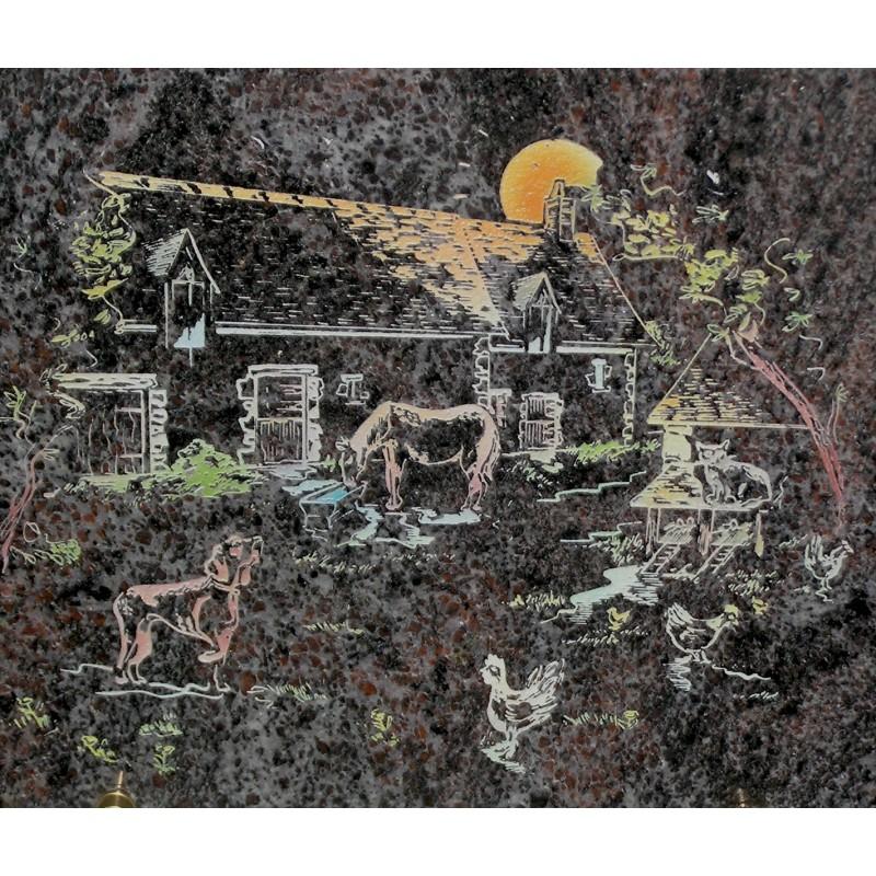 plaque fun raire en granit sur pieds himalaya avec gravure couleur cour de ferme migennes fleurs. Black Bedroom Furniture Sets. Home Design Ideas
