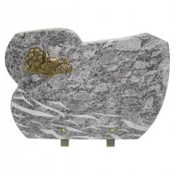 Plaque funéraire en granit bleu clair sur pieds bronze village