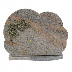 Plaque funéraire en granit rose sur socle bronze fleurs