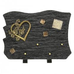 Plaque funéraire en résine noir sur pieds avec bronze coeur et fleurs