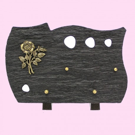 Plaque funéraire en résine noir bronze rose pierres blanches