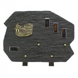 Plaque funéraire en résine noir bronze pêcheur et petits miroirs