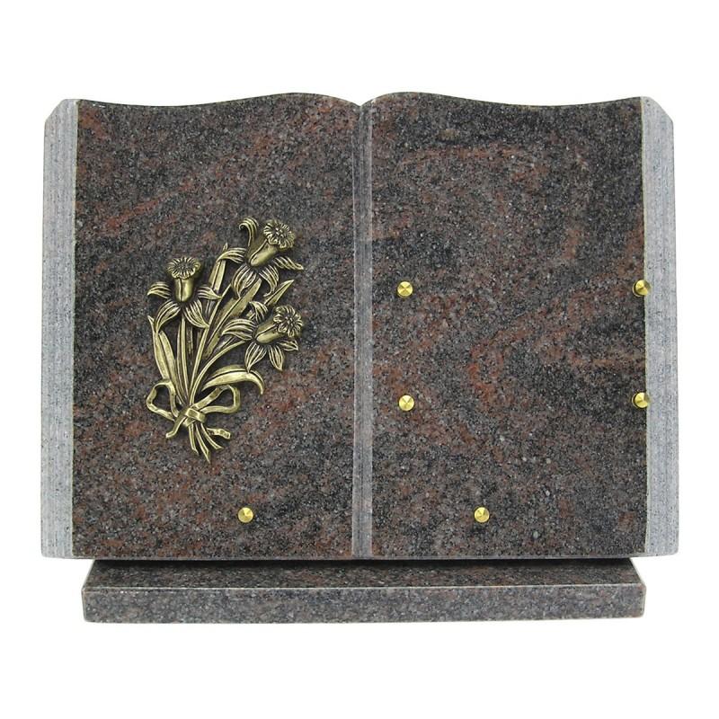 plaque fun u00e9raire en granit himalaya en forme de livre sur socle avec bronze jonquilles