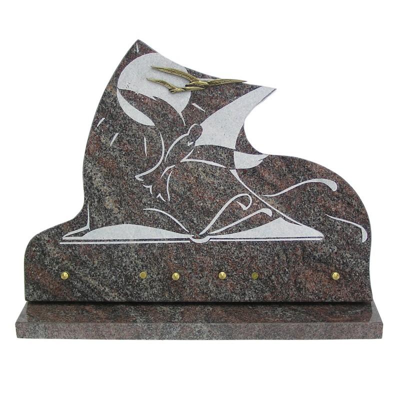 plaque fun raire en granit sur socle himalaya gravure blanche et bronze oiseaux migennes fleurs. Black Bedroom Furniture Sets. Home Design Ideas