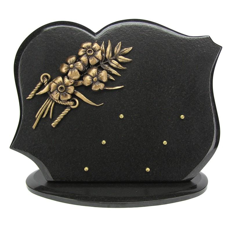 plaque fun raire en granit noir sur socle ovale avec bronze fleurs migennes fleurs. Black Bedroom Furniture Sets. Home Design Ideas