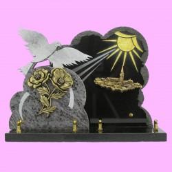 Plaque funéraire en granit noir et mass blue double sur socle bronze fleurs