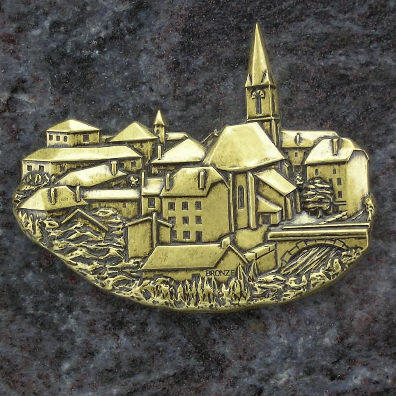 plaque fun u00e9raire en granit bleu en forme de livre sur socle noir avec bronze village