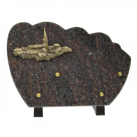Plaque funéraire en granit himalaya sur pieds sujet bronze village