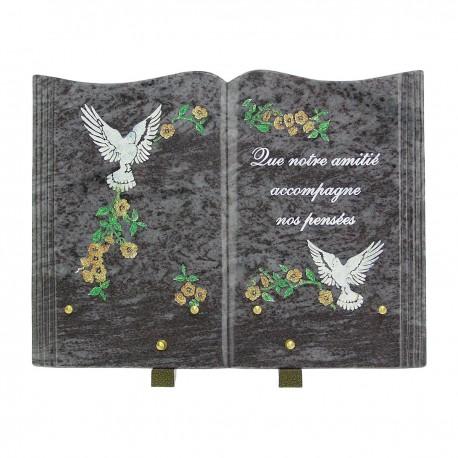plaque fun raire en forme de livre et en granit bleu plaque avec gravure motifs. Black Bedroom Furniture Sets. Home Design Ideas
