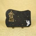 Plaque funéraire en granit noir sur pieds