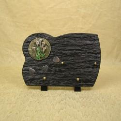 Plaque funéraire en résine noir sur pieds bronze couleur bouquet calla