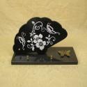 Plaque funéraire en granit noir sur socle