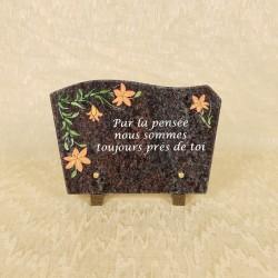 Plaque funéraire en granit avec gravure en couleur