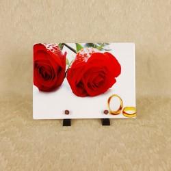 Plaque funéraire en résine 2 roses rouges